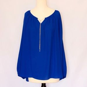 Dress Barn Long Sleeve Blue Blouse with Chain Tie